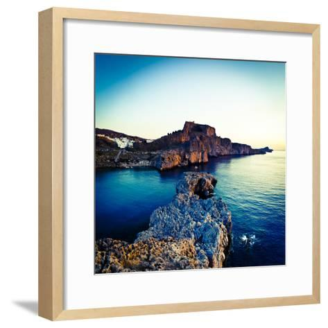 Lindos Acropolis and Harbour, Lindos, Rhodes, Greece-Doug Pearson-Framed Art Print