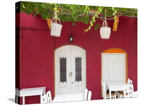 Front of Cafe, Taverna, Symi Island, Dodecanese Islands, Greece-Peter Adams-Stretched Canvas Print