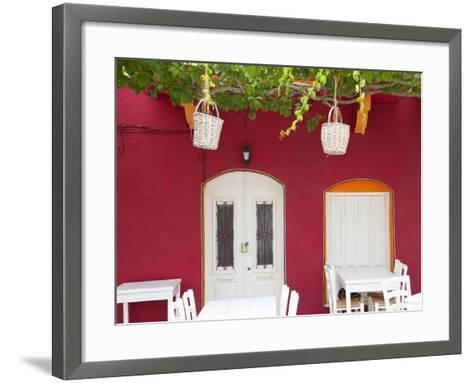 Front of Cafe, Taverna, Symi Island, Dodecanese Islands, Greece-Peter Adams-Framed Art Print