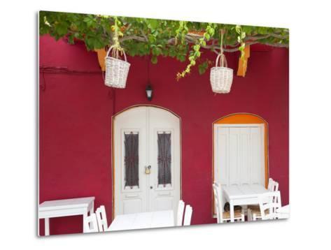 Front of Cafe, Taverna, Symi Island, Dodecanese Islands, Greece-Peter Adams-Metal Print