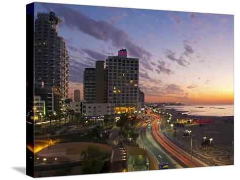 Israel, Tel Aviv, Elevated Dusk View of the City Beachfront-Gavin Hellier-Stretched Canvas Print