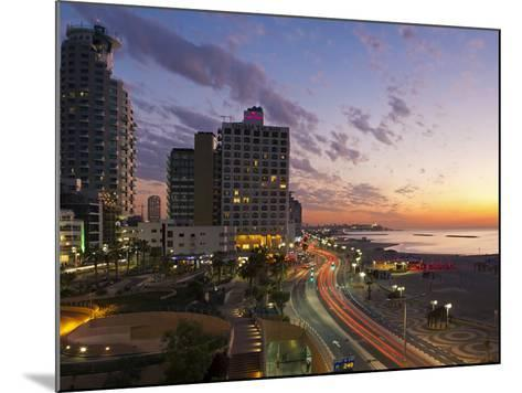 Israel, Tel Aviv, Elevated Dusk View of the City Beachfront-Gavin Hellier-Mounted Photographic Print