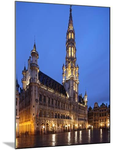 The Town Hall (French: Hôtel De Ville), of City of Brussels Is a Gothic Building from Middle Ages L-David Bank-Mounted Photographic Print
