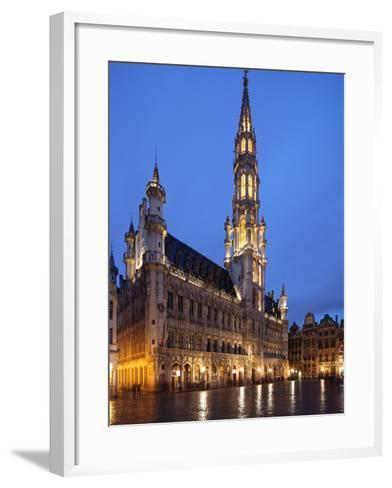 The Town Hall (French: Hôtel De Ville), of City of Brussels Is a Gothic Building from Middle Ages L-David Bank-Framed Art Print