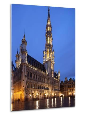 The Town Hall (French: Hôtel De Ville), of City of Brussels Is a Gothic Building from Middle Ages L-David Bank-Metal Print