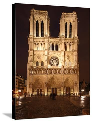 The Famous Cathedral of Notre Dame in Paris after the Rain, France-David Bank-Stretched Canvas Print