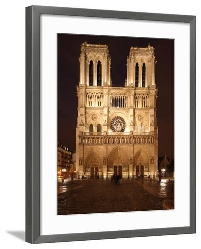 The Famous Cathedral of Notre Dame in Paris after the Rain, France-David Bank-Framed Art Print