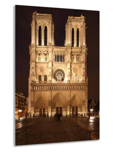 The Famous Cathedral of Notre Dame in Paris after the Rain, France-David Bank-Metal Print