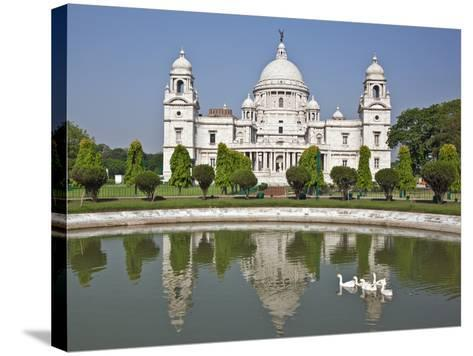 Magnificent Victoria Memorial Building with its White Marble Domes Was Built to Commemorate Queen V-Nigel Pavitt-Stretched Canvas Print