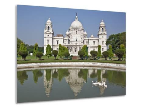 Magnificent Victoria Memorial Building with its White Marble Domes Was Built to Commemorate Queen V-Nigel Pavitt-Metal Print