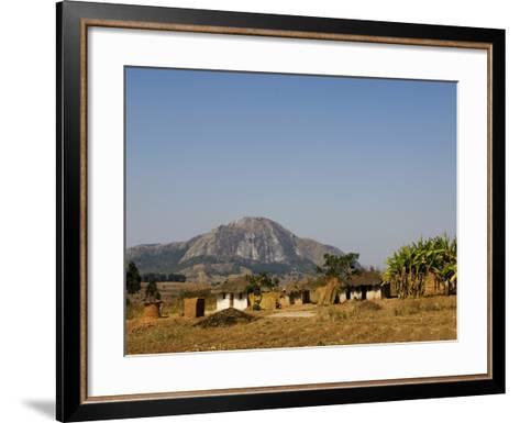 Malawi, Dedza, Grass-Roofed Houses in a Rural Village in the Dedza Region-John Warburton-lee-Framed Art Print