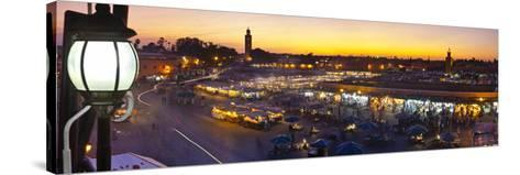Elevated View over Djemaa El-Fna Square at Sunset, Marrakesh, Morocco-Doug Pearson-Stretched Canvas Print