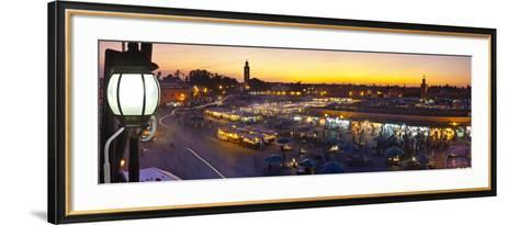 Elevated View over Djemaa El-Fna Square at Sunset, Marrakesh, Morocco-Doug Pearson-Framed Art Print