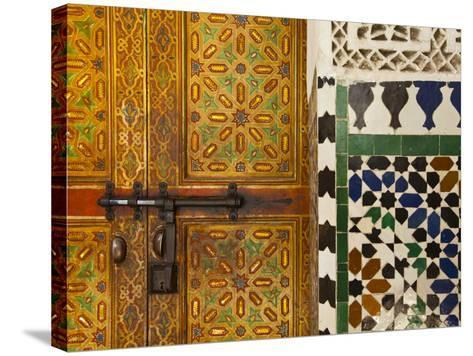 Interior Door Detail, Moulay Ismal Mousoleum, Medina, Meknes, Morocco-Doug Pearson-Stretched Canvas Print
