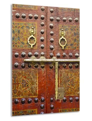 Ornate Door, Sidi Ahmed Tijani Mosque, the Medina, Fes, Morocco-Doug Pearson-Metal Print