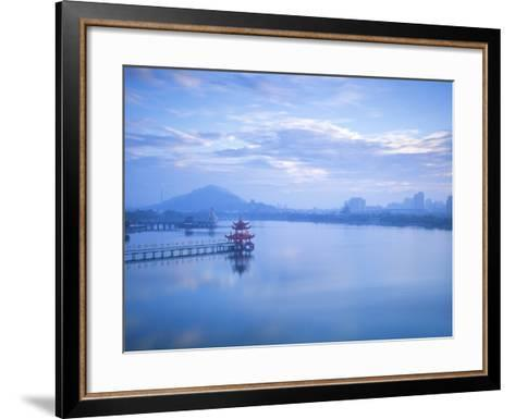 Taiwan, Kaohsiung, Lotus Pond, View of Bridge Leading to Spring and Autumn Pagodas with Statue of S-Jane Sweeney-Framed Art Print