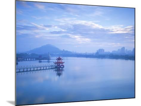 Taiwan, Kaohsiung, Lotus Pond, View of Bridge Leading to Spring and Autumn Pagodas with Statue of S-Jane Sweeney-Mounted Photographic Print