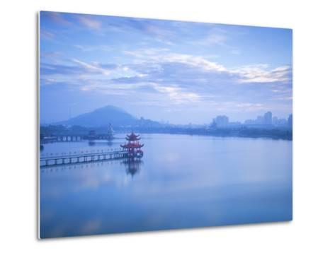 Taiwan, Kaohsiung, Lotus Pond, View of Bridge Leading to Spring and Autumn Pagodas with Statue of S-Jane Sweeney-Metal Print