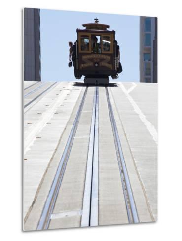 Cable Car Crossing California Street in San Francisco, California, USA-Gavin Hellier-Metal Print