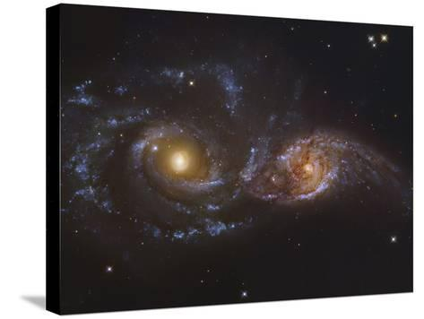 NGC 2207 and Ic 2163, Colliding Galaxies in Canis Majormosaic Data from the Hubble Legacy Archive-Robert Gendler-Stretched Canvas Print