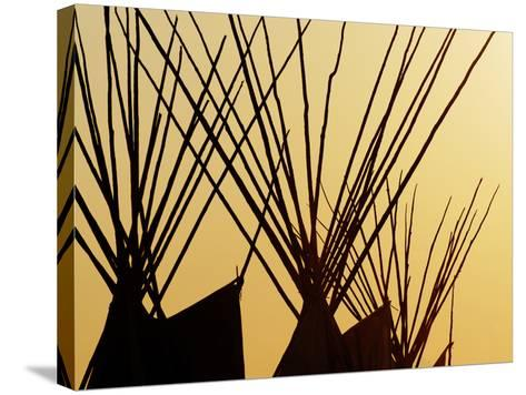 Tops of Tepees Silhouetted at Sunset, Montana-Adam Jones-Stretched Canvas Print