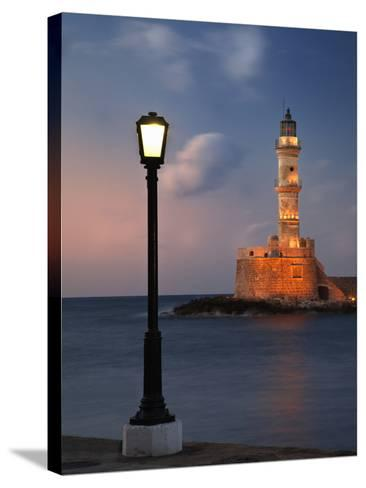 Lighthouse and Lighted Lamp Post at Dusk, Chania, Crete, Greece-Adam Jones-Stretched Canvas Print