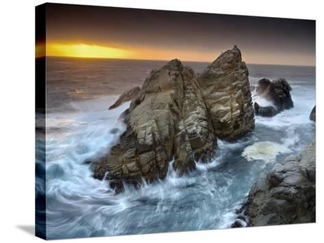Crashing Waves Pounding and Eroding Coastal Rocks at Point Lobos at the North End of Big Sur-Patrick Smith-Stretched Canvas Print