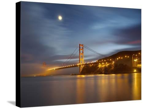Fog and the Moon over the Golden Gate Bridge at Sunset, San Francisco, California, USA-Patrick Smith-Stretched Canvas Print