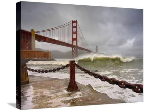 Large Storm Waves in San Francisco Bay under the Golden Gate Bridge About to Batter the Shore-Patrick Smith-Stretched Canvas Print