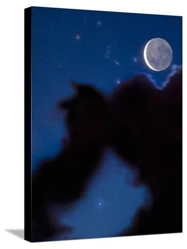 Crescent Moon in the Night Sky with Much of the Moon Illuminated by Earthshine-David Nunuk-Stretched Canvas Print