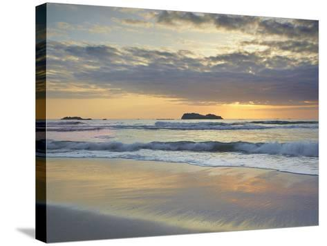 Sunset over Trinidad State Beach Near Eureka at Low Tide with Reflective Sand Patterns-Patrick Smith-Stretched Canvas Print