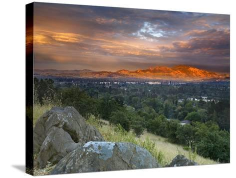 After a Storm Rolled Though the Valley, an Opening in the Clouds Allowed Mt Diablo-Patrick Smith-Stretched Canvas Print