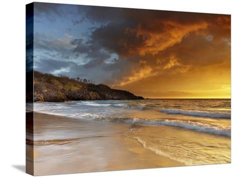 Sunset at Hapuna Beach, Big Island Volcanic Gases and Fog, Called Vog, Can Create Dramatic Sunsets-Patrick Smith-Stretched Canvas Print