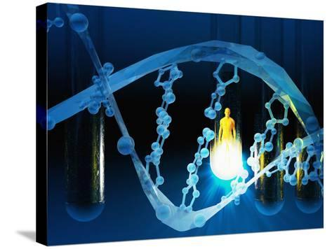 Biomedical Illustration of a Stylized DNA Molecule in Blue, Test Tubes, and a Human Likeness-Carol & Mike Werner-Stretched Canvas Print