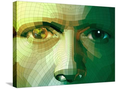 Man and Global Technology-Carol & Mike Werner-Stretched Canvas Print