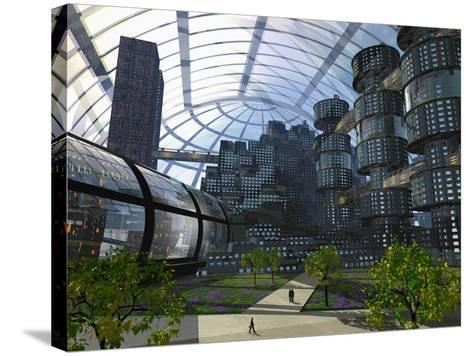 Illustration of an Enclosed City of the Future-Carol & Mike Werner-Stretched Canvas Print