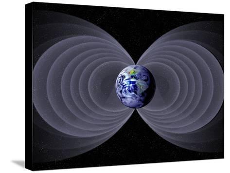 Conceptual Illustration of the Earth's Magnetic Field-Carol & Mike Werner-Stretched Canvas Print