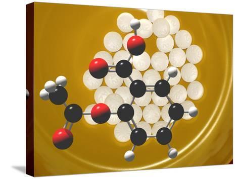 Generic Aspirin Tablets with Aspirin Molecular Model, Acetylsalicylic Acid-Carol & Mike Werner-Stretched Canvas Print