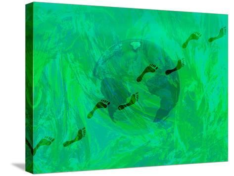 Green Earth with Carbon Footprints-Carol & Mike Werner-Stretched Canvas Print