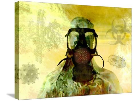 Illustration of Risk, Showing a Person in Hazardous Materials Suit and Face Mask-Carol & Mike Werner-Stretched Canvas Print