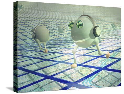 Concept of Cyberbots Carrying Digital Information on the Internet-Carol & Mike Werner-Stretched Canvas Print