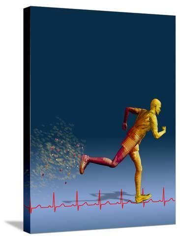Biomedical Illustration of a Wireframe Runner with an Ekg-Carol & Mike Werner-Stretched Canvas Print
