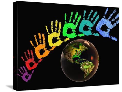 Rainbow-Colored Hands with the Earth-Carol & Mike Werner-Stretched Canvas Print