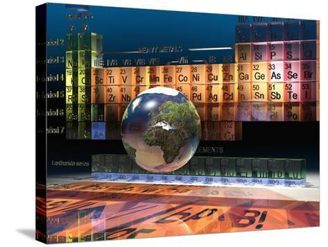 Illustration of the Building Blocks of the Earth, the Periodic Table of the Elements, and a Globe-Carol & Mike Werner-Stretched Canvas Print