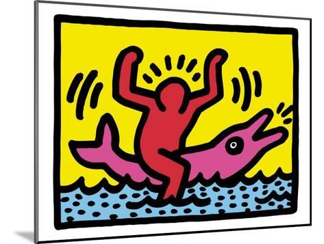 Pop Shop (Dolphin Rider)-Keith Haring-Mounted Giclee Print