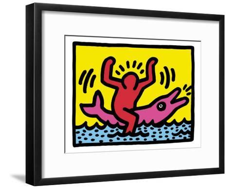 Pop Shop (Dolphin Rider)-Keith Haring-Framed Art Print