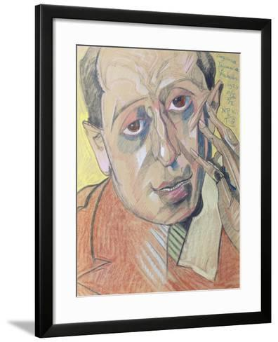 Portrait of a Man, 1924 (Pastel on Paper)-Stanislaw Ignacy Witkiewicz-Framed Art Print