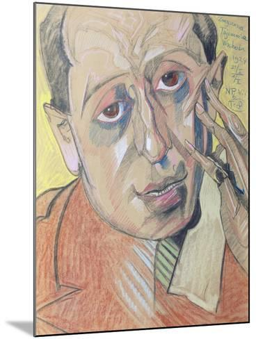 Portrait of a Man, 1924 (Pastel on Paper)-Stanislaw Ignacy Witkiewicz-Mounted Giclee Print
