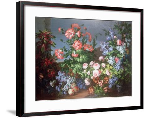 Flowers, Fruit with a Monkey and a Parrot-Jean-Baptiste Monnoyer-Framed Art Print