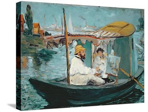 Monet in His Floating Studio, 1874-Edouard Manet-Stretched Canvas Print